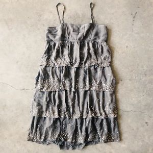 Grey Flapper Style Cami Dress Gold/Silver Sequins